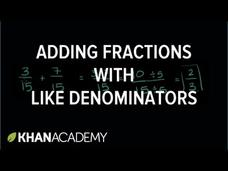 Adding Fractions with Like Denominators Video