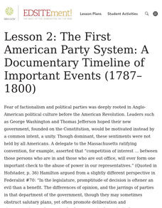 The First American Party System: A Documentary Timeline of Important Events (1787-1800) Lesson Plan