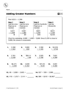 Adding Greater Numbers Worksheet