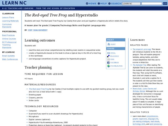 Red-eyed Tree Frog Hyperstudio Lesson Plan
