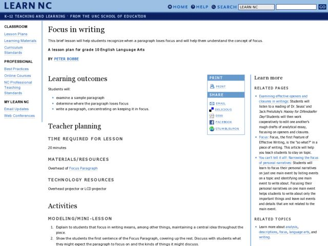 Focus in Writing Lesson Plan