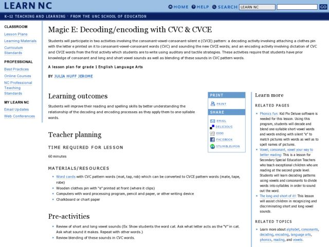 Magic E: Decoding/Encoding With CVC & CVCE Lesson Plan