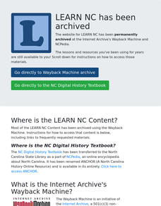 Antebellum North Carolina Lesson Plan
