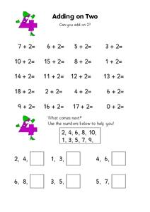 Adding on Two Worksheet