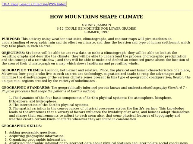 How Mountains Shape Climate Lesson Plan