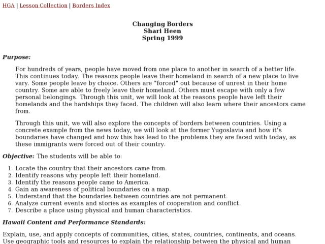 Changing Borders Lesson Plan