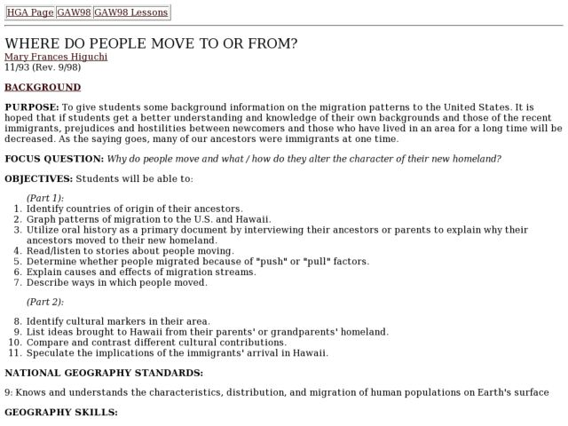 Where Do People Move To Or From? Lesson Plan