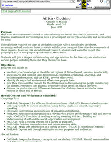Africa - Clothing Lesson Plan