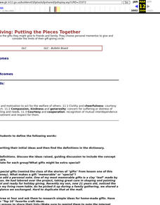 Giving: Putting the Pieces Together Lesson Plan