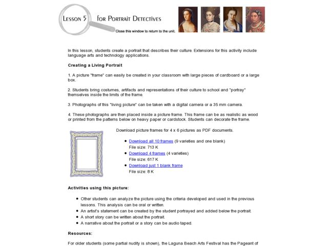 Portrait Dectectives Lesson Plan