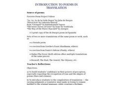 Introduction To Poems in Translation Lesson Plan
