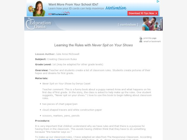 "Learning the Rules with ""Never Spit on Your Shoes"" Lesson Plan"