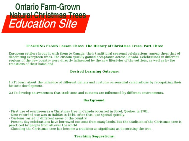 Lesson Three: The History of Christmas Trees, Part Three Lesson Plan