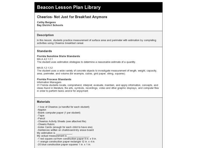 Cheerios- Not Just for Breakfast Anymore Lesson Plan