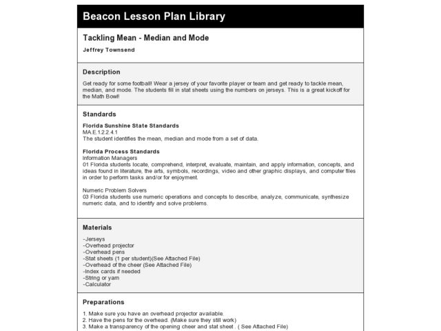 Tackling Mean - Median and Mode Lesson Plan