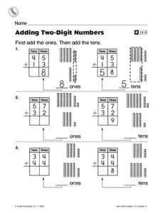 Adding Two-Digit Numbers Worksheet