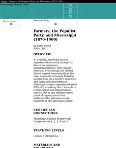 Farmers, the Populist Party, and Mississippi (1870-1900) Lesson Plan