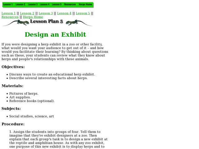 Design an Exhibit Lesson Plan