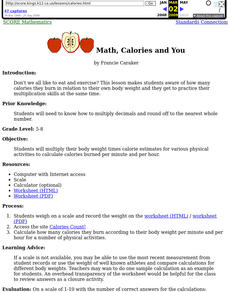 Math, Calories and You Lesson Plan
