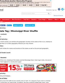 USA State Tag / Mississippi River Shuffle Lesson Plan