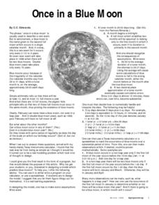 Once In A Blue Moon Lesson Plan