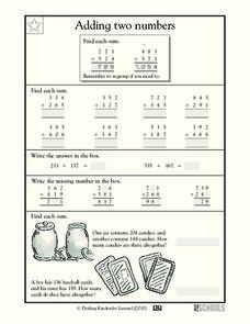 Adding Two Numbers Worksheet
