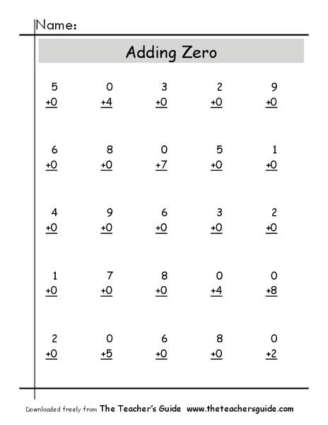 Adding Zero Worksheet for Kindergarten - 2nd Grade   Lesson Planet