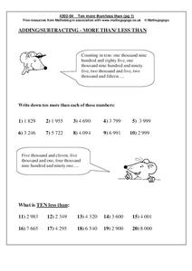 Adding/Subtracting--More Than/Less Than Worksheet