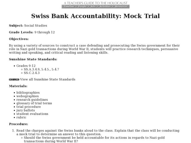 Swiss Bank Accountability: Mock Trial Lesson Plan