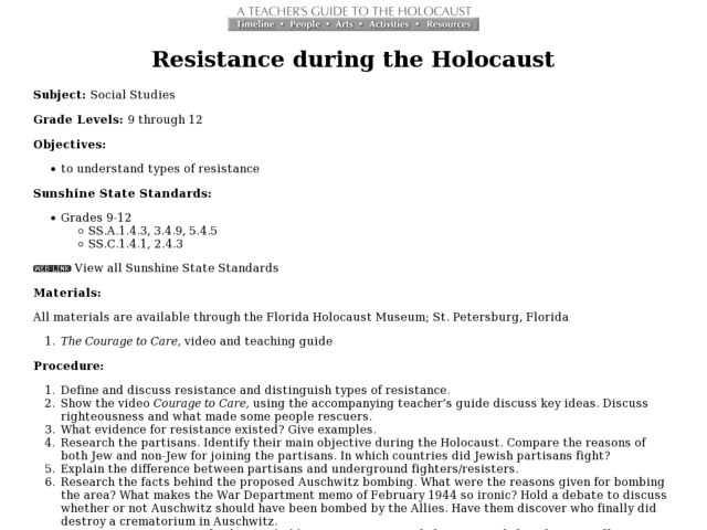 Resistance during the Holocaust Lesson Plan