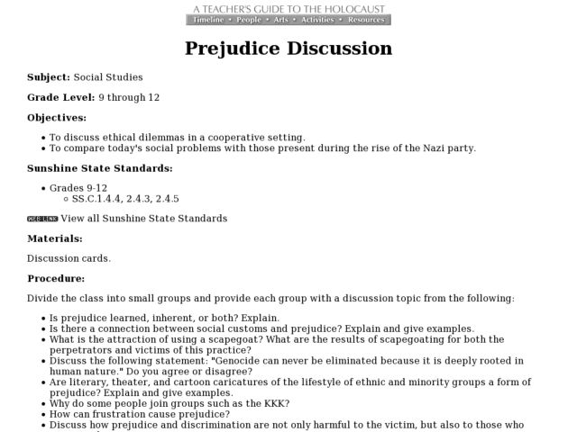 Prejudice Discussion Lesson Plan