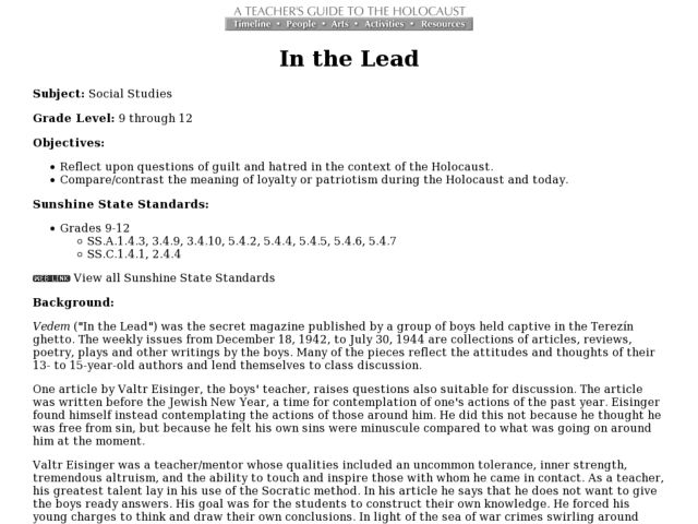 In the Lead Lesson Plan