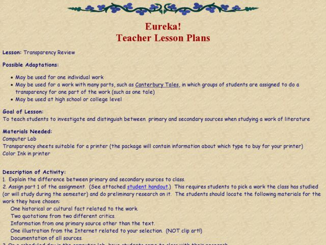Transparency Review Lesson Plan