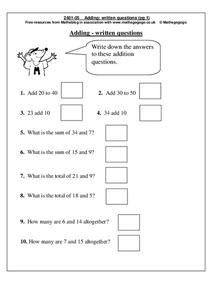 Adding: Written Questions Worksheet