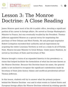 The Monroe Doctrine: A Close Reading Lesson Plan