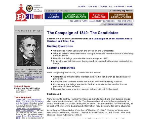 The Campaign of 1840: The Candidates Lesson Plan