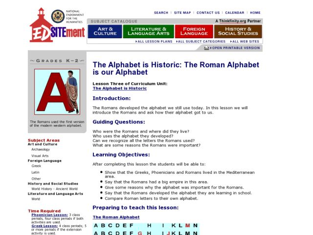 The Alphabet is Historic: The Roman Alphabet is our Alphabet Lesson Plan