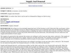 Supply And Demand - Recycling Lesson Plan