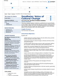 Sondheim: Voice of Cultural Change Lesson Plan