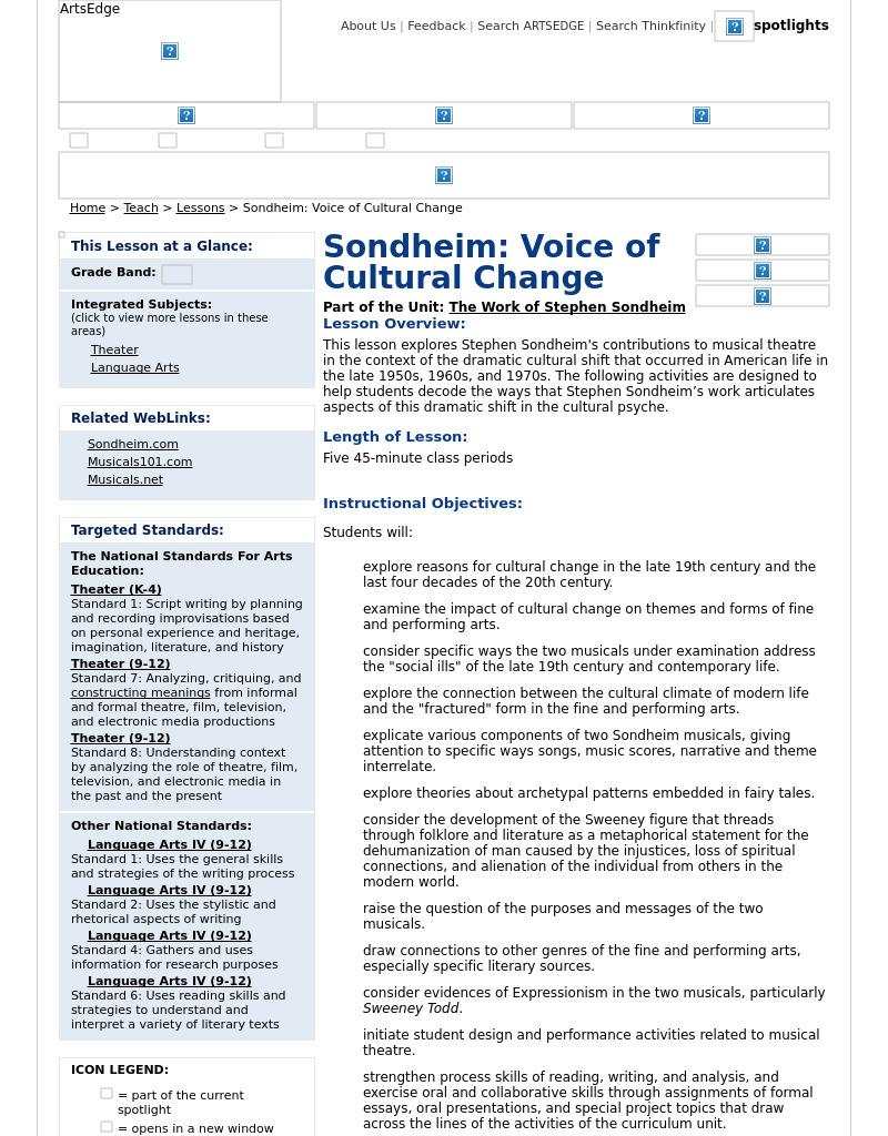 ... Sondheim: Voice of Cultural Change Lesson Plan