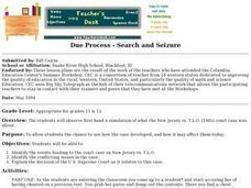 Due Process - Search and Seizure  Lesson Plan