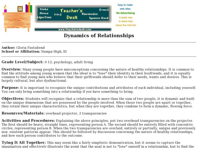 Dynamics of Relationships Lesson Plan