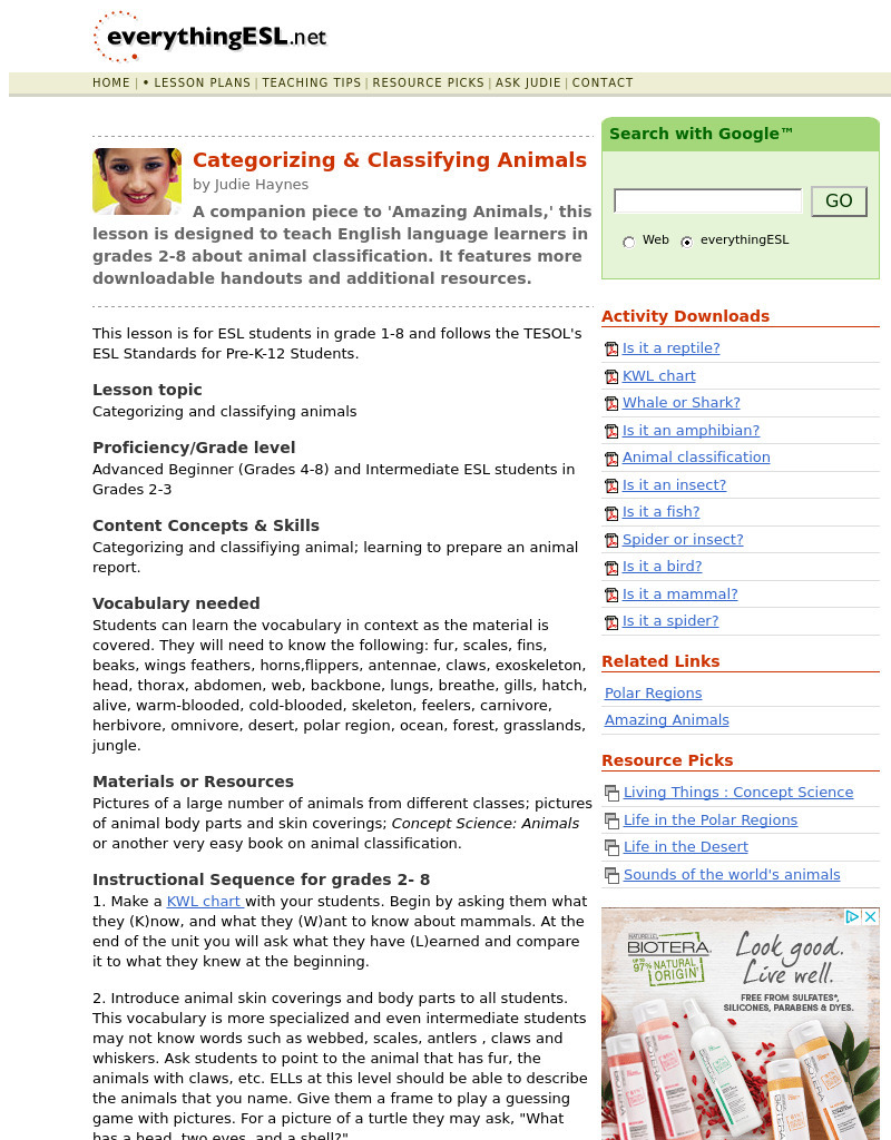 Categorizing & Classifying Animals Lesson Plan for 1st - 8th