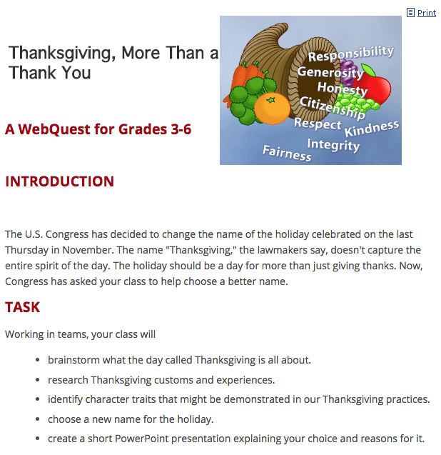 Thanksgiving - More Than a Thank You! Lesson Plan