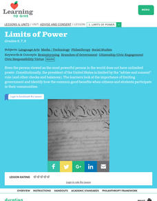 Advise And Consent Lesson 1:  Limits of Power Lesson Plan