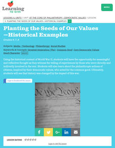 Planting the Seeds of Our Values Lesson Plan