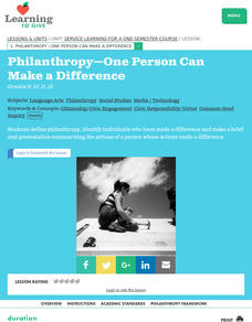 Philanthropy -- One Person Can Make A Difference Lesson Plan