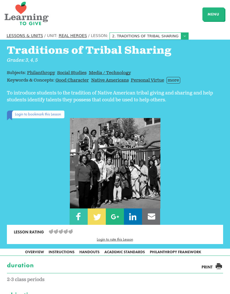 Traditions of Tribal Sharing Lesson Plan
