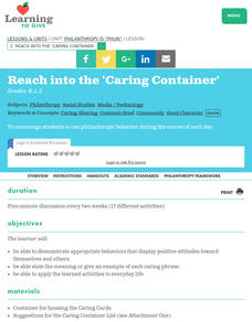 "Philanthropy is ""Phun"" Lesson 2:  Reach Into the 'caring Container' Lesson Plan"