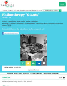 "Philanthropy is Everywhere Lesson 3:  Philanthropy ""giants"" Lesson Plan"